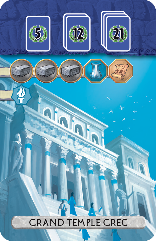 7 Wonders Duel: Panthéon,  une carte Grand Temple © Repos Production / Coimbra / Bauza / Cathala