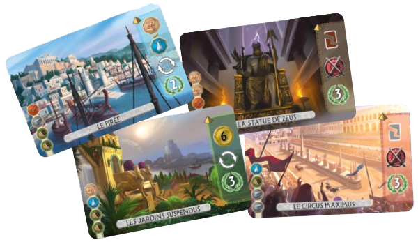 7 Wonders Duel, 4 cartes Merveilles © Repos Production / Coimbra