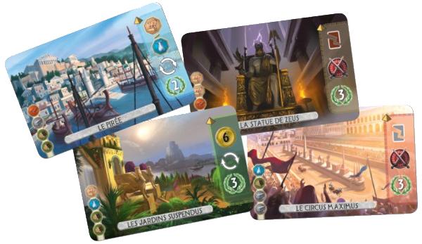 7 Wonders Duel, 4 cartes Merveilles © Repos Production / Coimbra