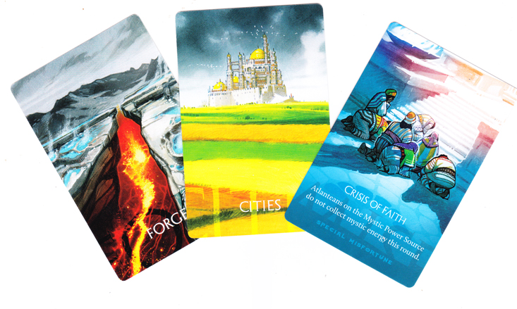 Atlantis Rising, cartes Désastres © Lucky Duck Games / Dutrait / Ciscell