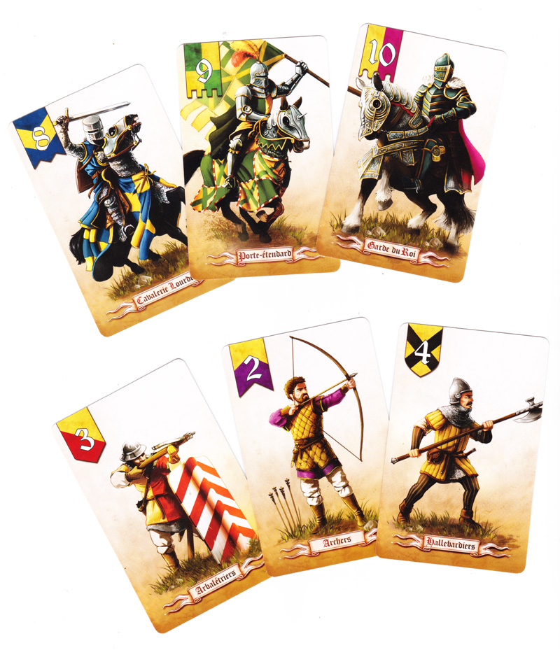 Battle Line Medieval, cartes Troupe © Pixie Games / MacDonald / Knizia