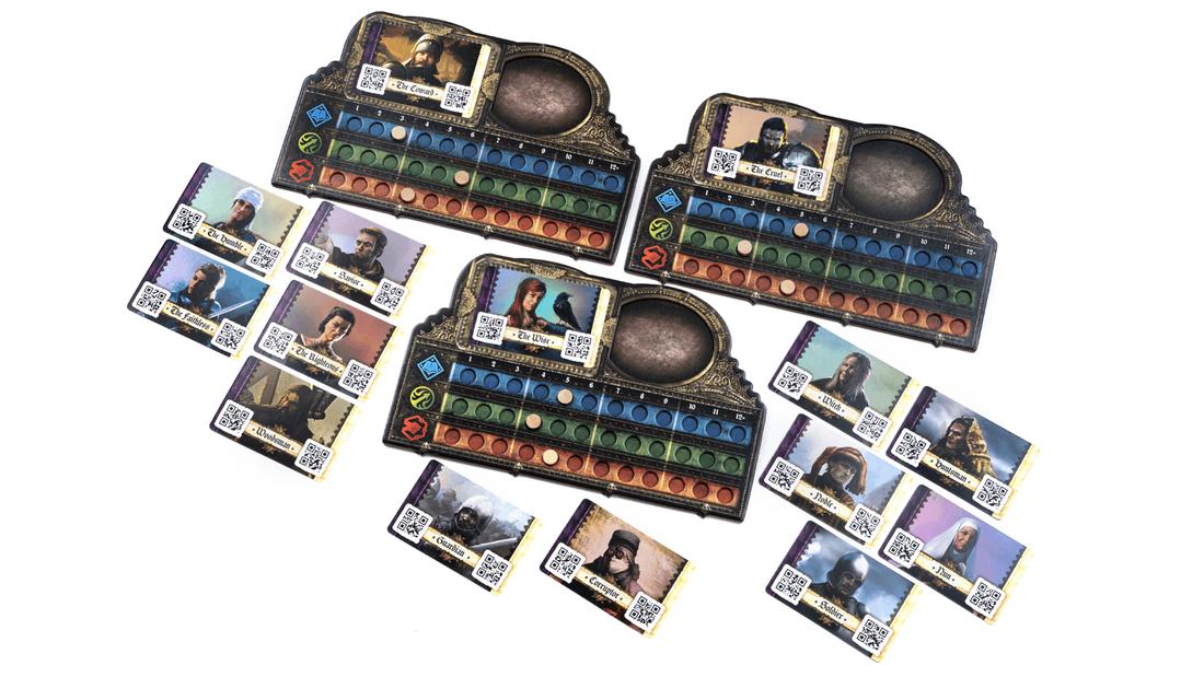 Destinies, plateau individuel et cartes Héros © Lucky Duck Games