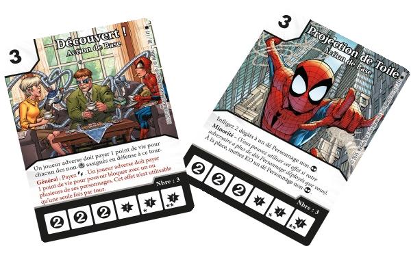Dice Master, Amazing Spider-Man, deux cartes Action de Base © Wizkids