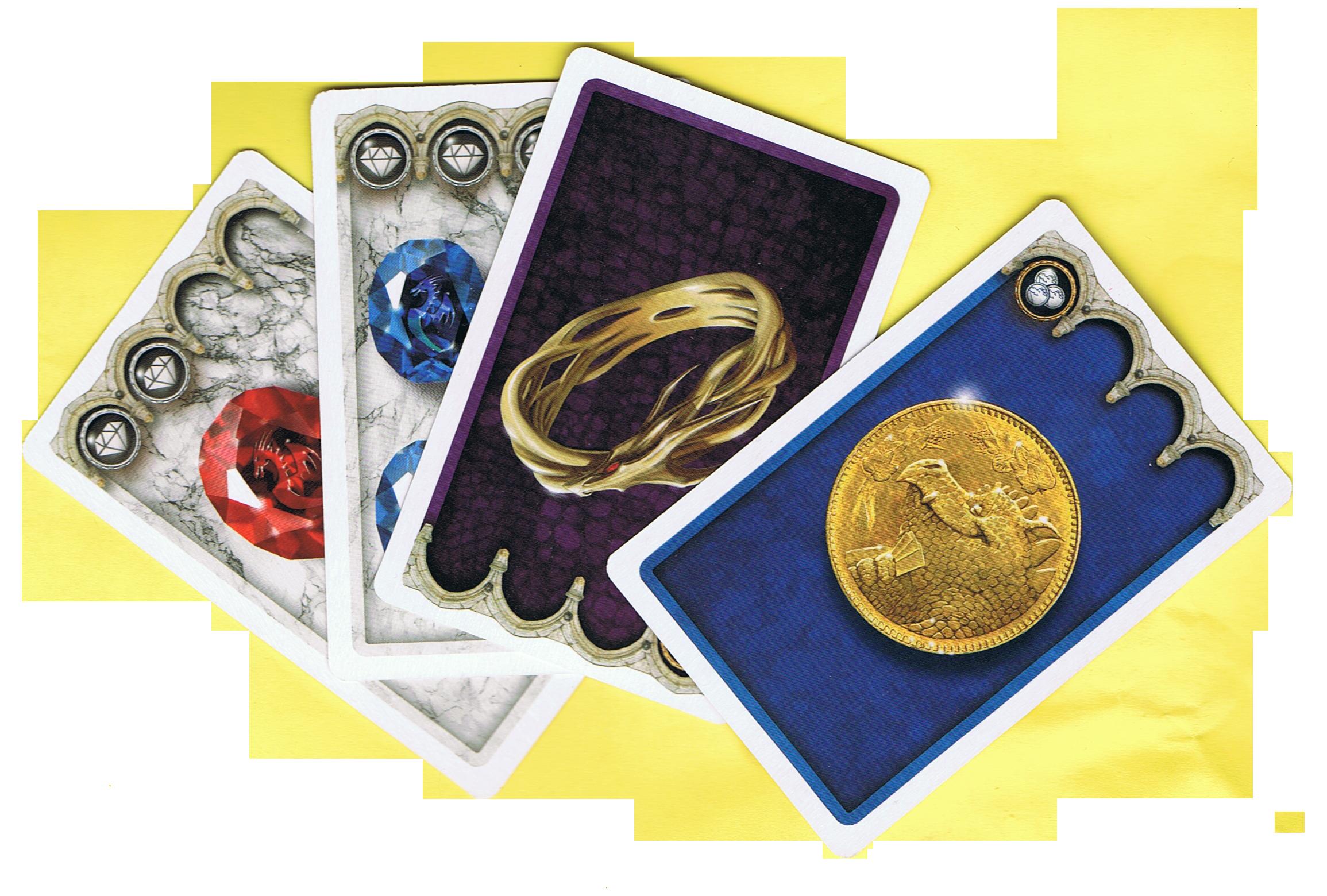 Dragons, pierres précieuses, pièces d'or et anneau encore unique © Matagot / Cochard / Faidutti