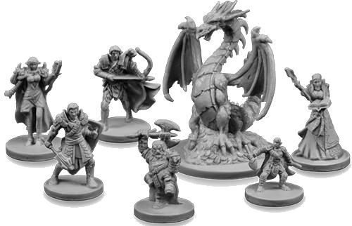 Drakon, figurines héros et dragon © EDGE