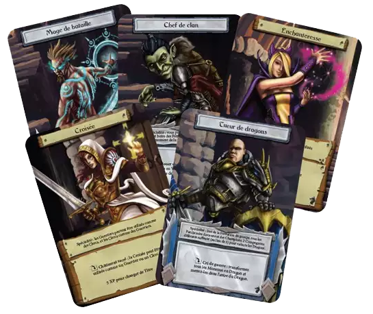 Dungeon Roll, quelques cartes Personnage © Edge