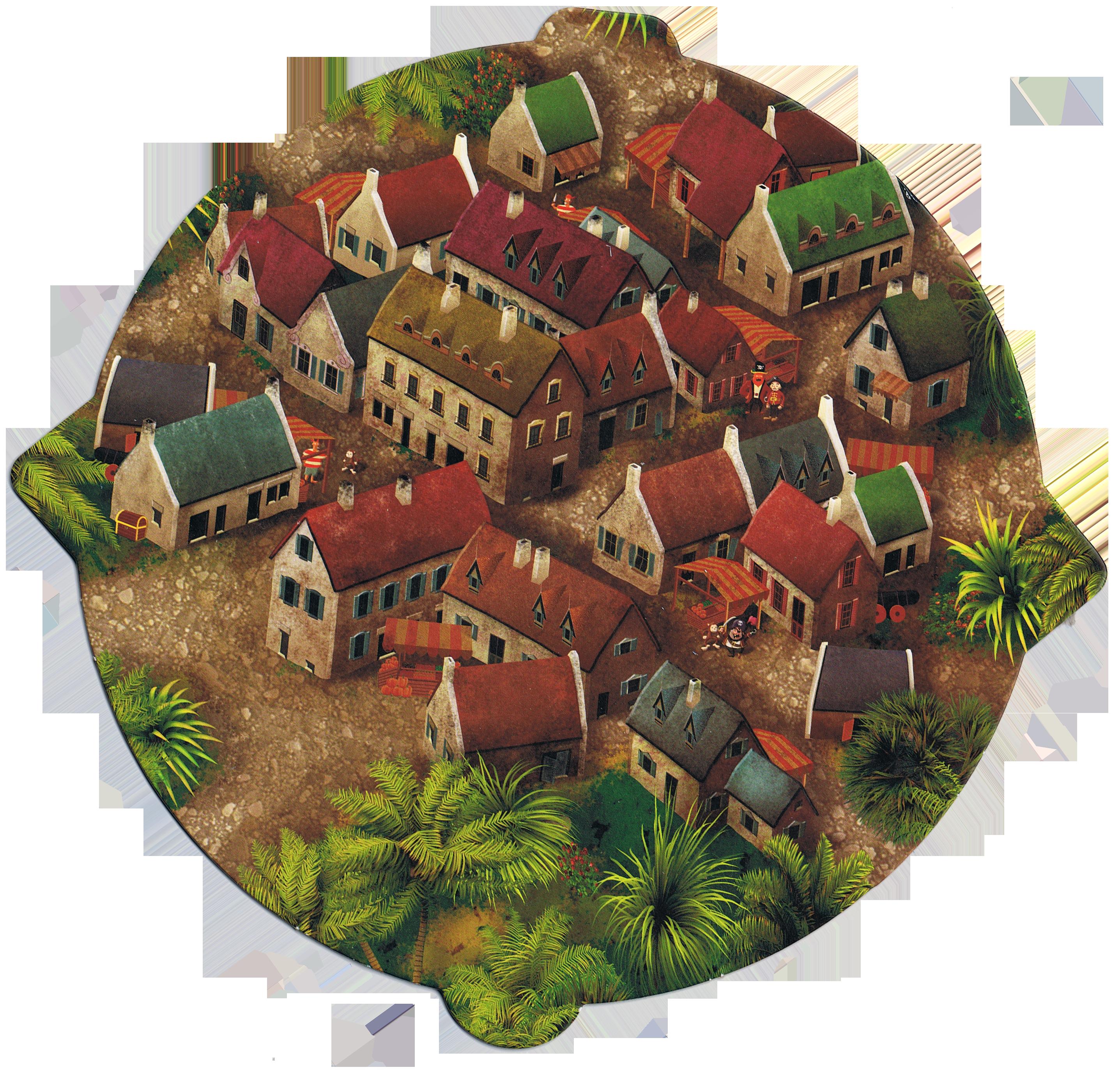 Gold Armada, le village au centre de l'île... © Tactic / Knizia