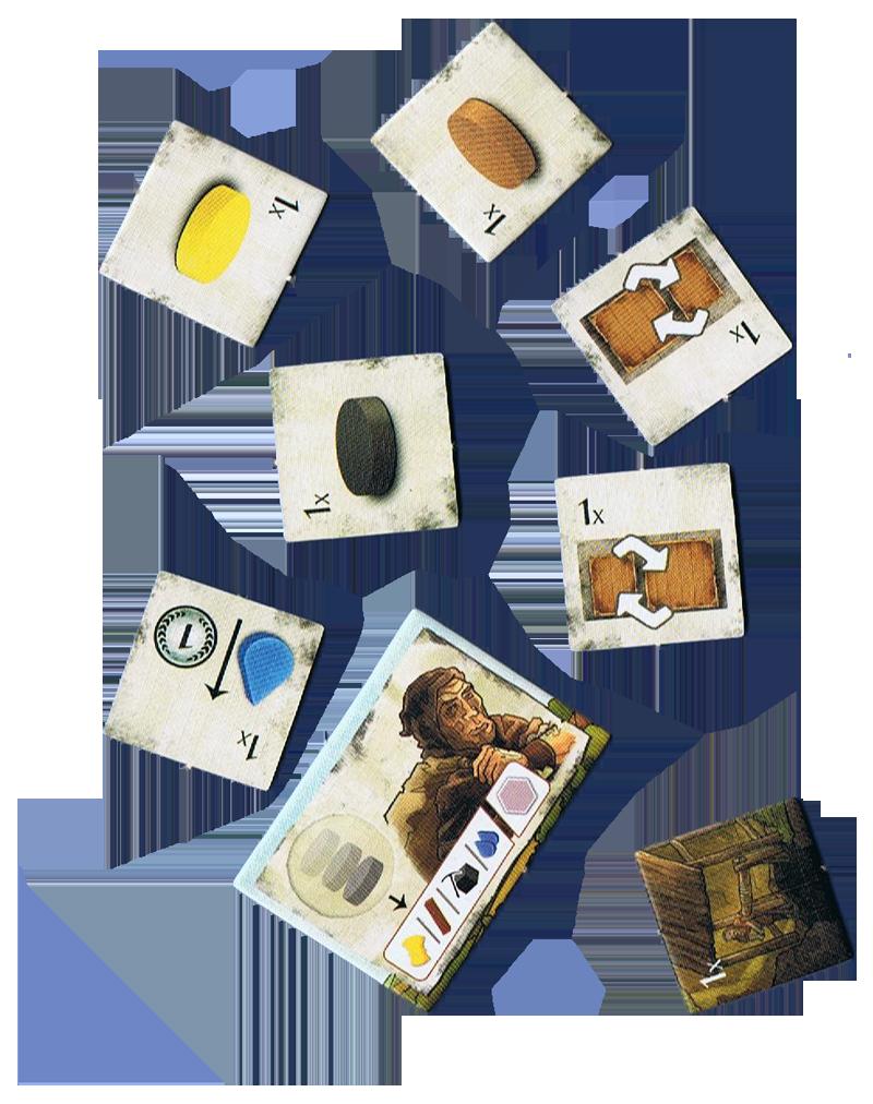 Haspelknecht, quelques tuiles bonus © Quined Games / Sich / Spitzer