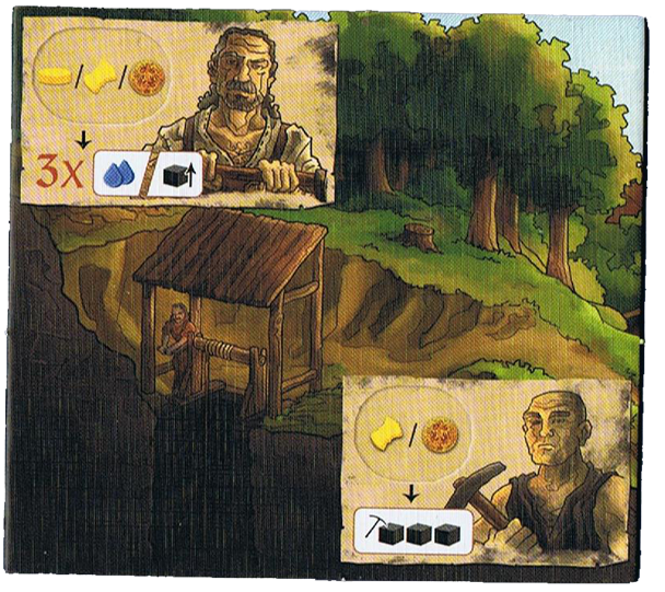 Haspelknecht, tuile Mineur et le fameux Haspelknecht  © Quined Games / Sich / Spitzer
