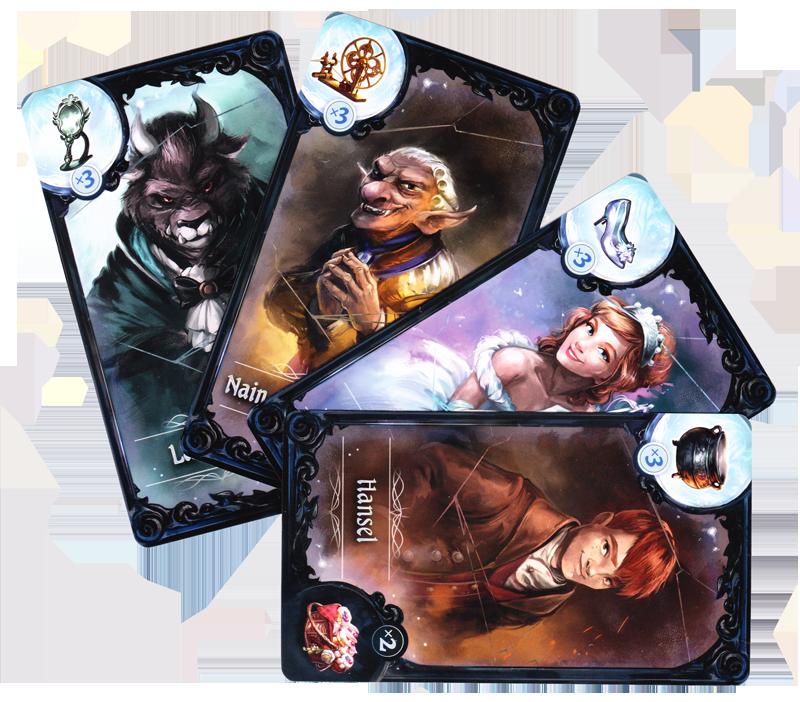 La Mascarade des Frères Grimm, cartes Personnage © Lucky Duck Games / Cuddington / Eisner / Hudson