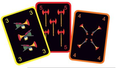 Le jeu des trois brigands, les cartes Attaque © L'Ecole des Loisirs