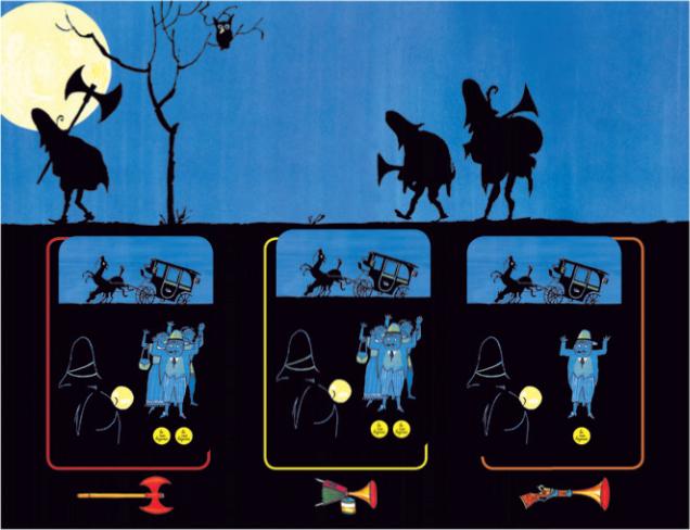 Le jeu des trois brigands, le plateau principal © L'Ecole des Loisirs