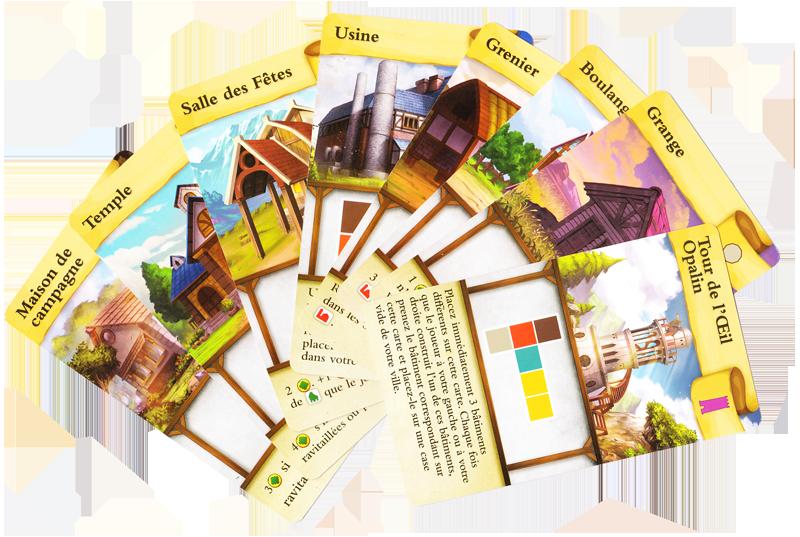 Les Petites Bourgades, cartes Bâtiment © Lucky Duck Games