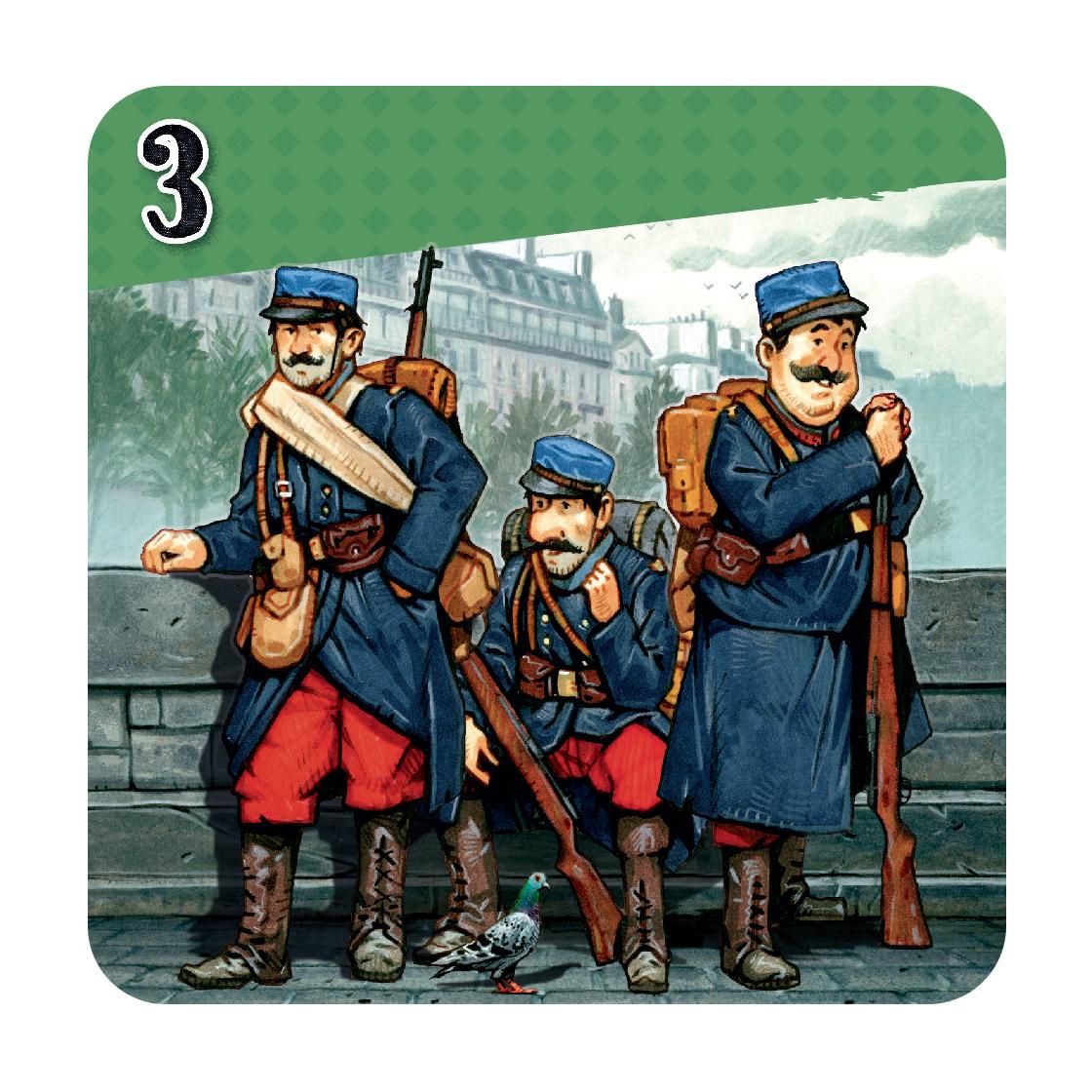 Les Taxis de la Marne, exemple de carte Soldat © Cocktail Games / Dutrait / Caplanne