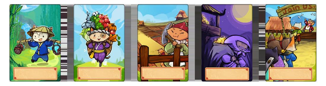 Meowtopia, les cartes action (sans les logos) © Runes Editions