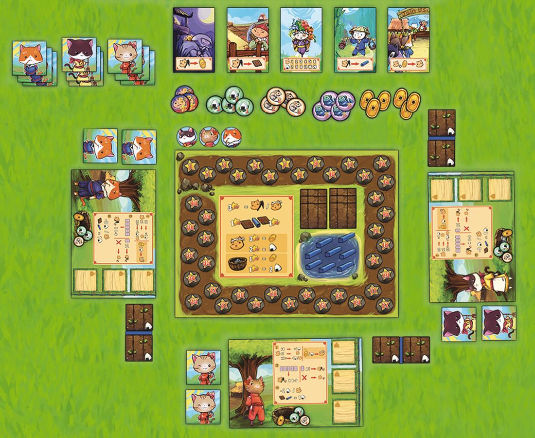 Meowtopia, mise en place du jeu © Runes Editions