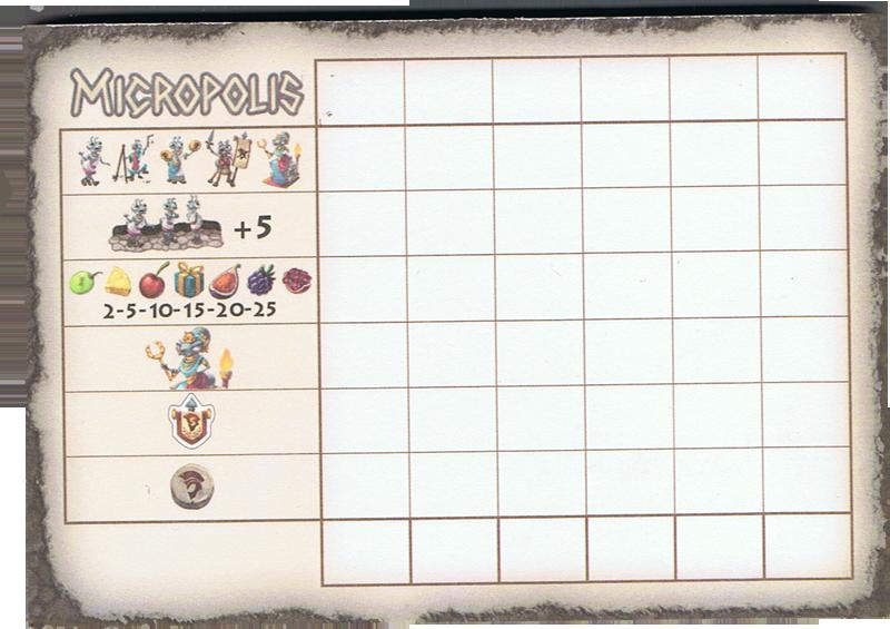 Micropolis, un carnet de score bien pensé © Matagot / Chaussy / Chevalier / Cathala
