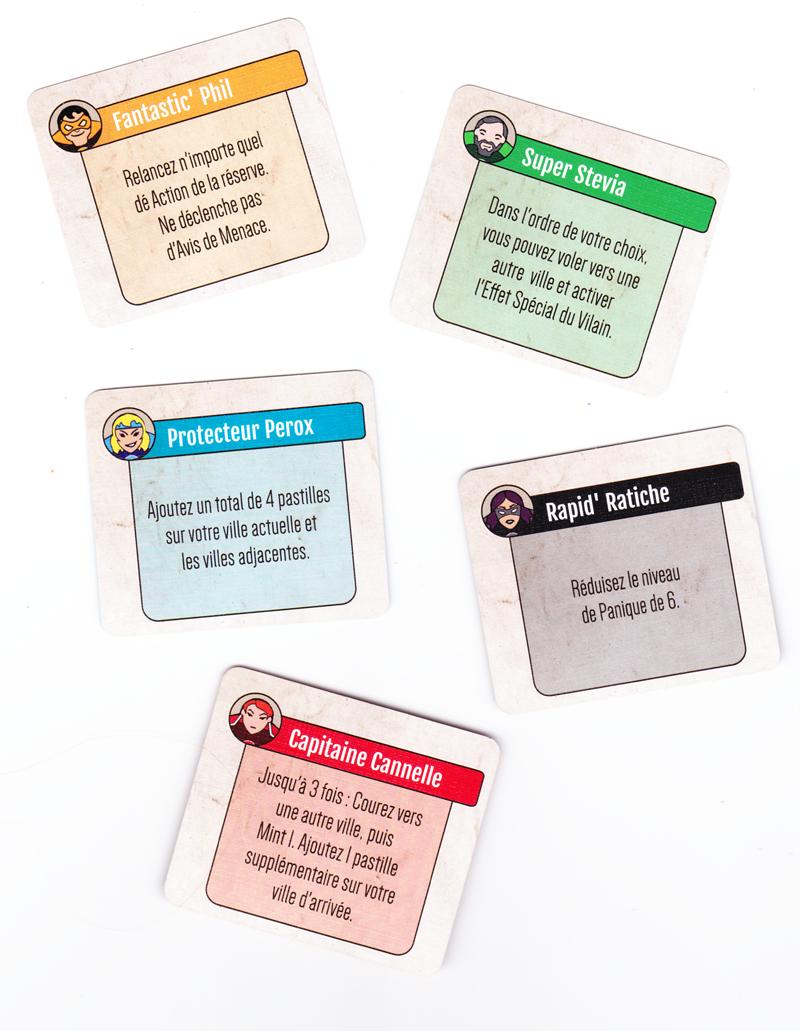 Mint Cooperative, les incroyable capacités des Supers Héros © Lucky Duck Games