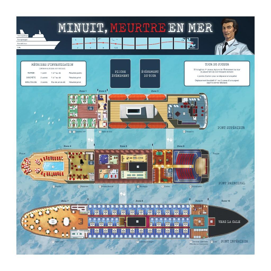 Minuit Meurtre en Mer, le plateau de jeu © Multifaces Editions