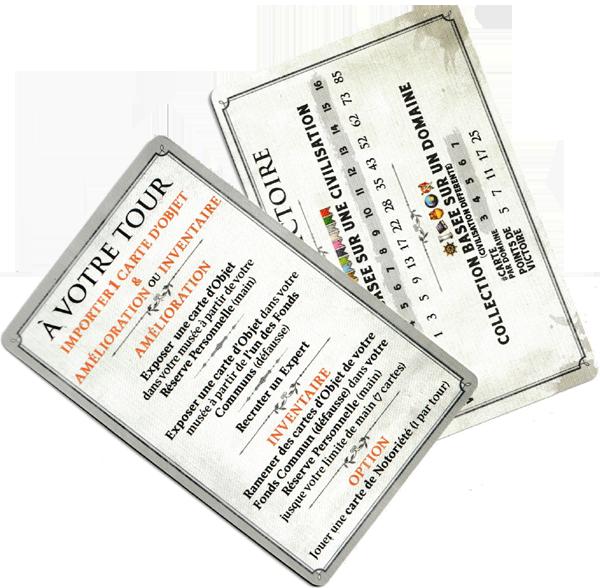 Museum, cartes Aide de Jeu © Holy Grail Games / Dutrait / Dubus / Mélison