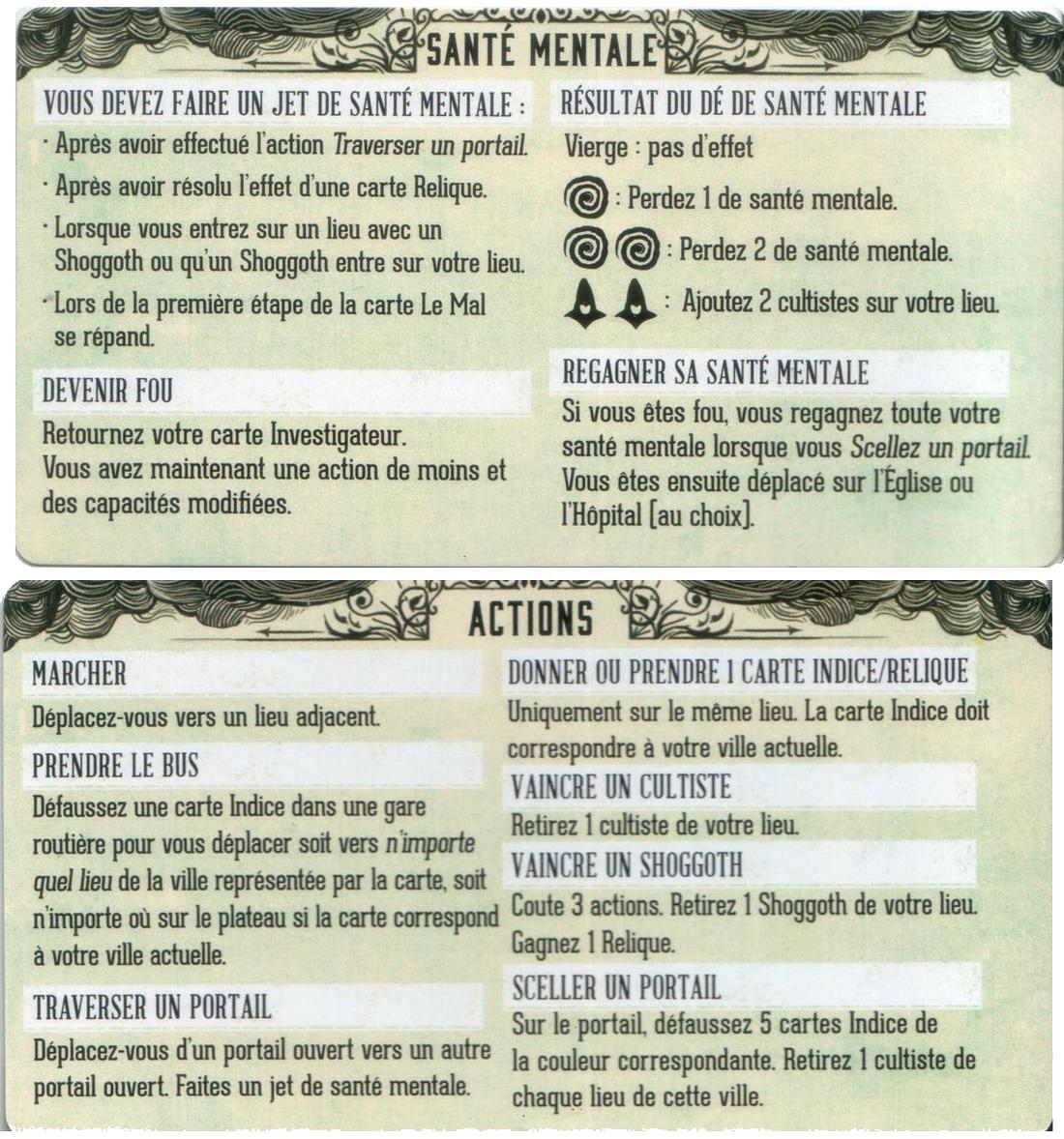 Pandemic, Le Règne de Cthulhu, aide de jeu recto & verso © Filosofia
