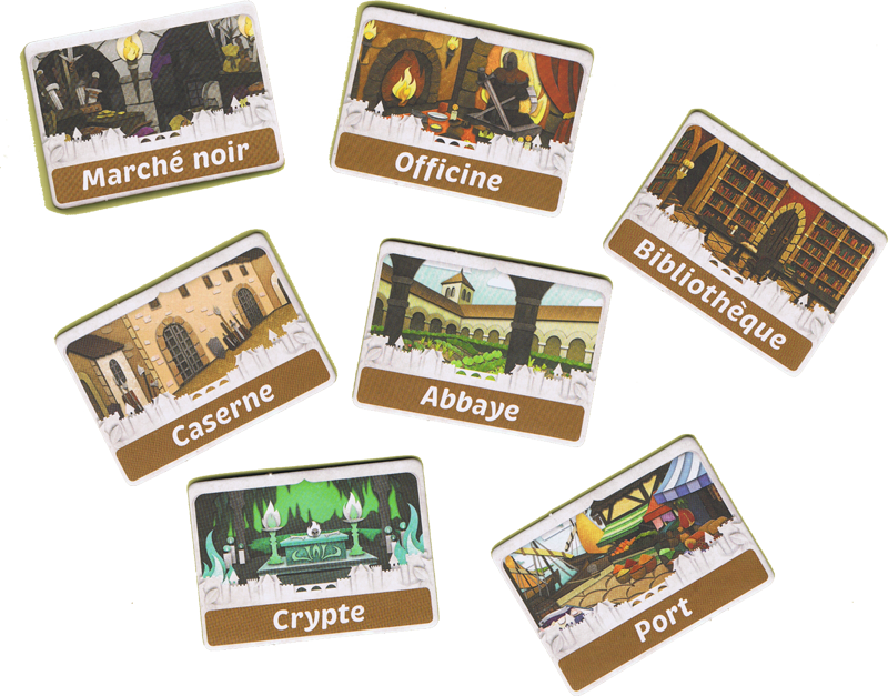 Paper Tales, Au Delà des Portes, les tuiles pour choisir les bâtiments © Catch Up Games / Alcouffe / Uesugi