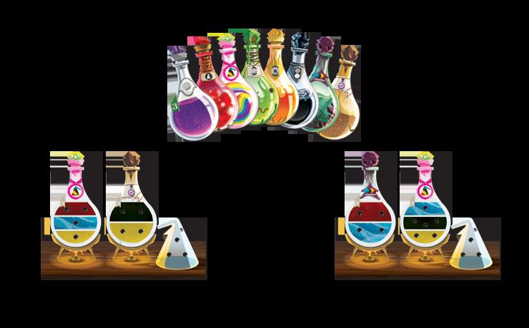 Potion Explosion, fioles de potion et paillasses © EDGE / Ghigini