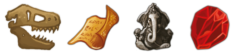 Reliques & Co, les 4 types de reliques © Iello