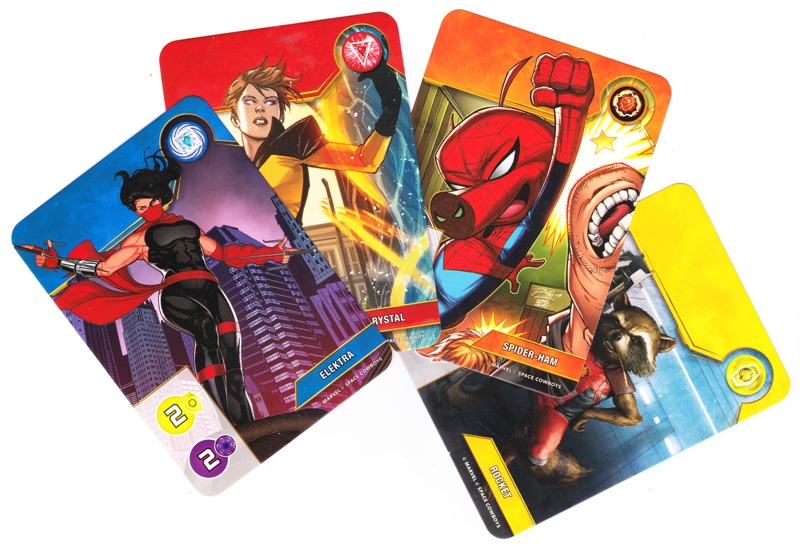 Splendor Marvel, cartes Super-Héros de niveau 1 © Space Cowboys / Marvel