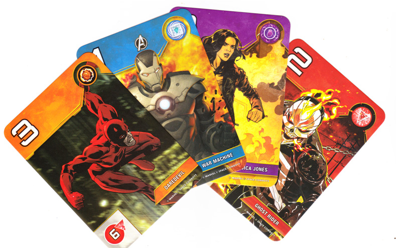Splendor Marvel, cartes Super-Héros de niveau 2 © Space Cowboys / Marvel