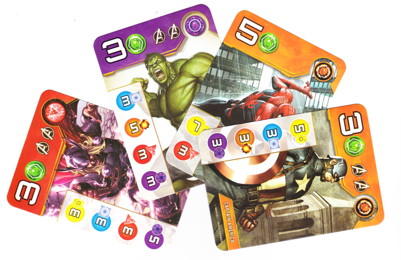 Splendor Marvel, cartes Super-Héros de niveau 3 © Space Cowboys / Marvel