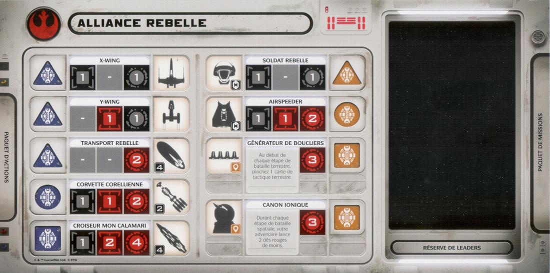 Star Wars : Plateau Individuel des Rebelles © FFG