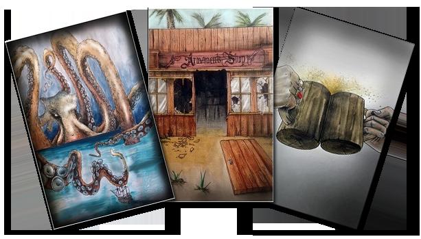 Terres Pirates, Illustration des Cartes Evenements © Roussignol Edition / Bécasse