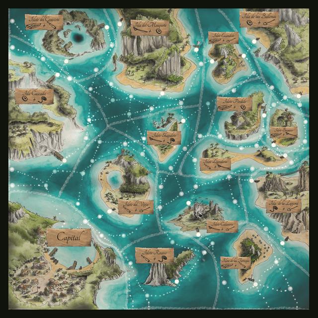 Terres Pirates, le plateau de jeu © Roussignol Edition / Bécasse