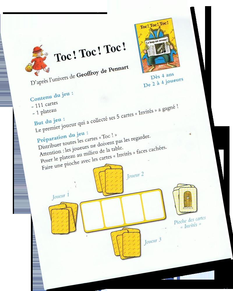 Toc! Toc! Toc!, l livret de règles © Ecole des Loisirs / Geoffroy de Pennart