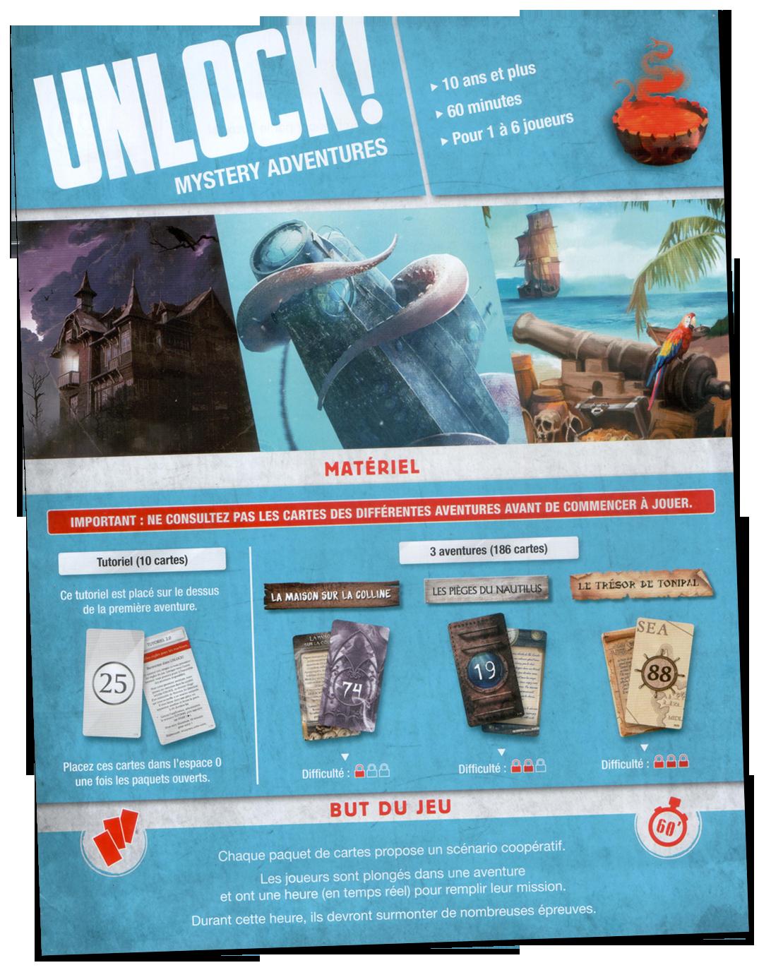 Unlock ! Mystery Adventures, le livret de règles © Space Cowboys