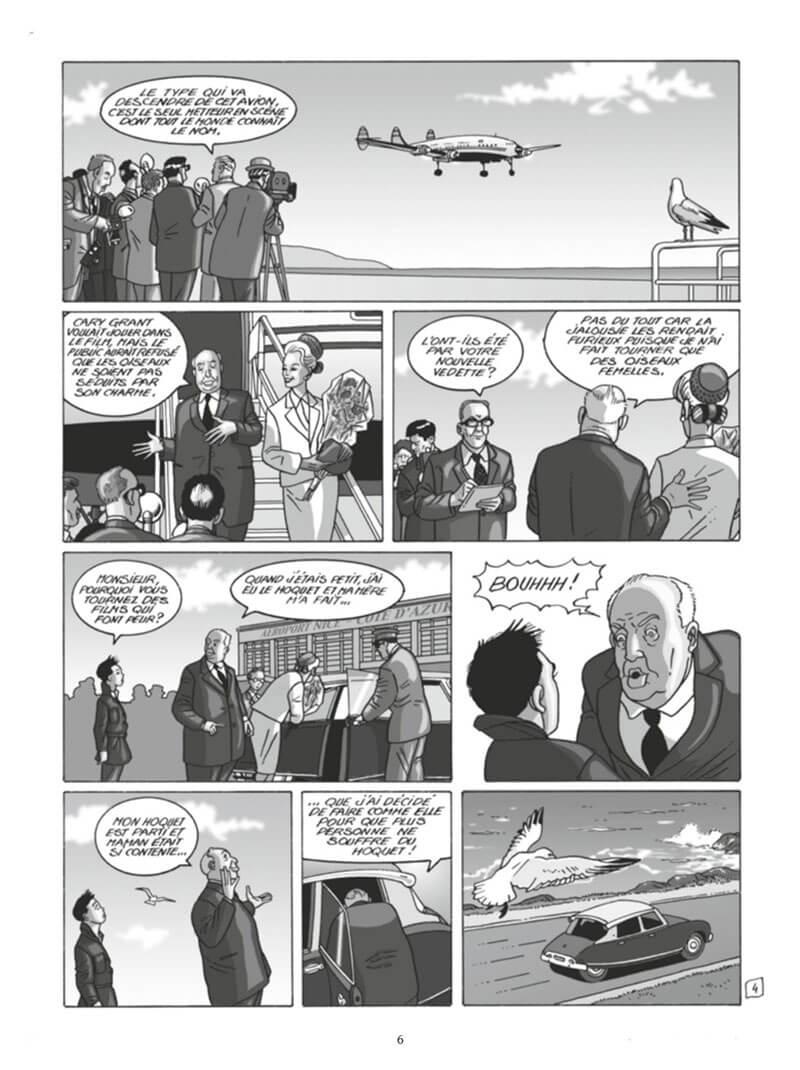 Alfred Hitchcock, planche du tome 2 © Glénat / Simsolo / Hé