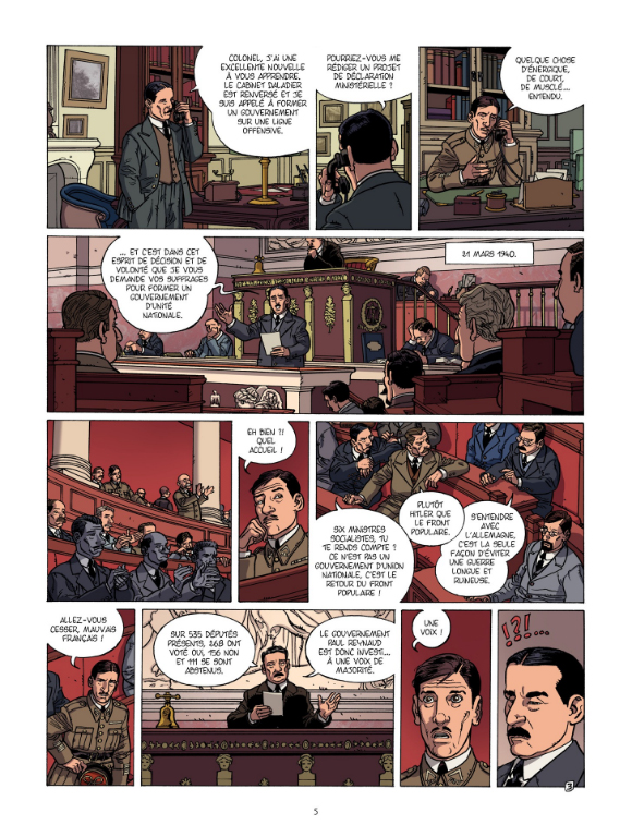 Charles de Gaulle, planche du tome 2 © Bamboo / Plumail / Le Naour / Ralenti