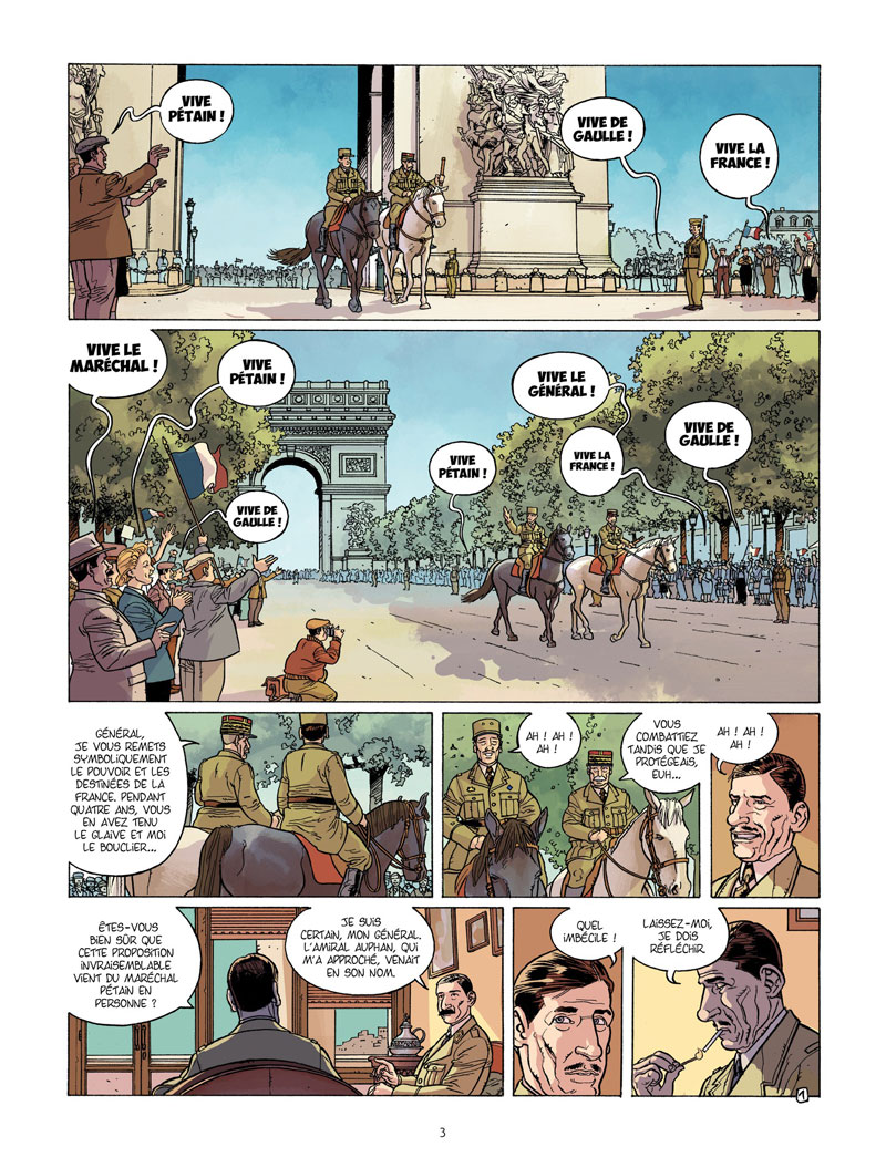 Charles de Gaulle, case du tome 3 © Bamboo / Plumail / Le Naour / Ralenti