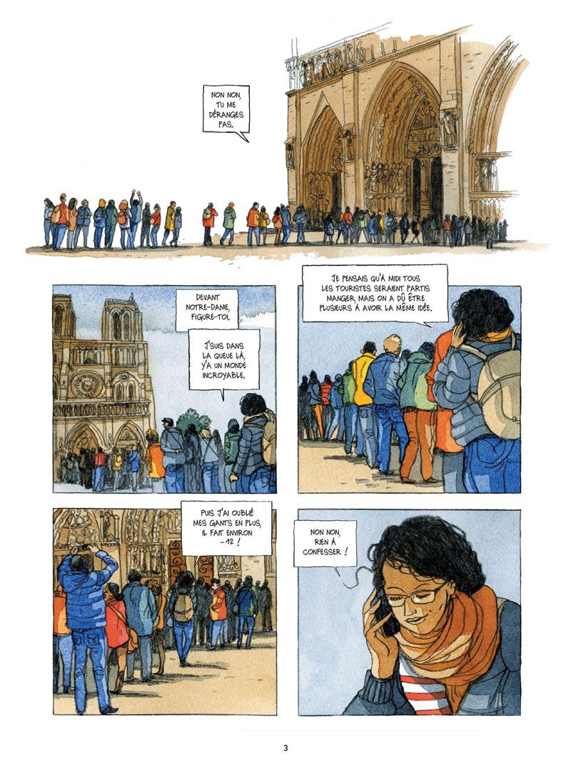 dans les coulisses de Notre Dame de Paris, planche de l'album © Jungle / Alessandra / Font