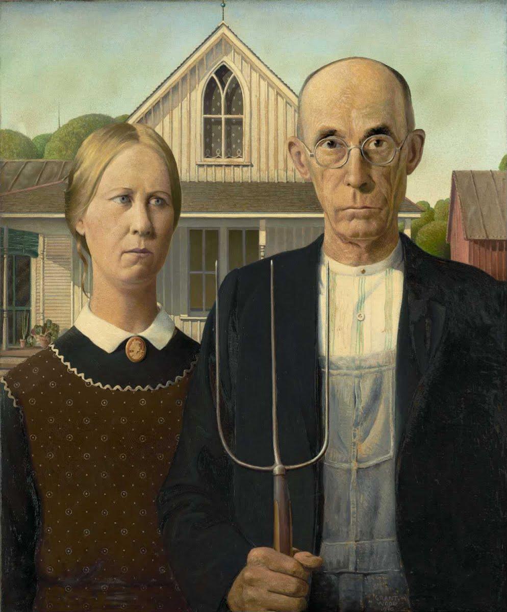 American gothic, tableau de Grant Wood, 1930