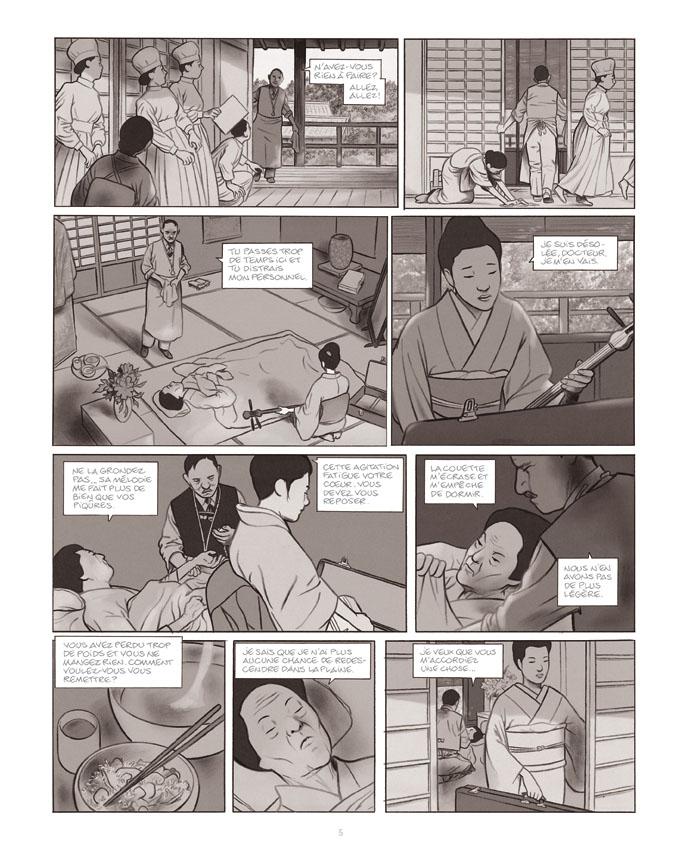 Geisha ou le jeu du shamisen, planche du tome 2 © Futuropolis / Durieux / Perrissin