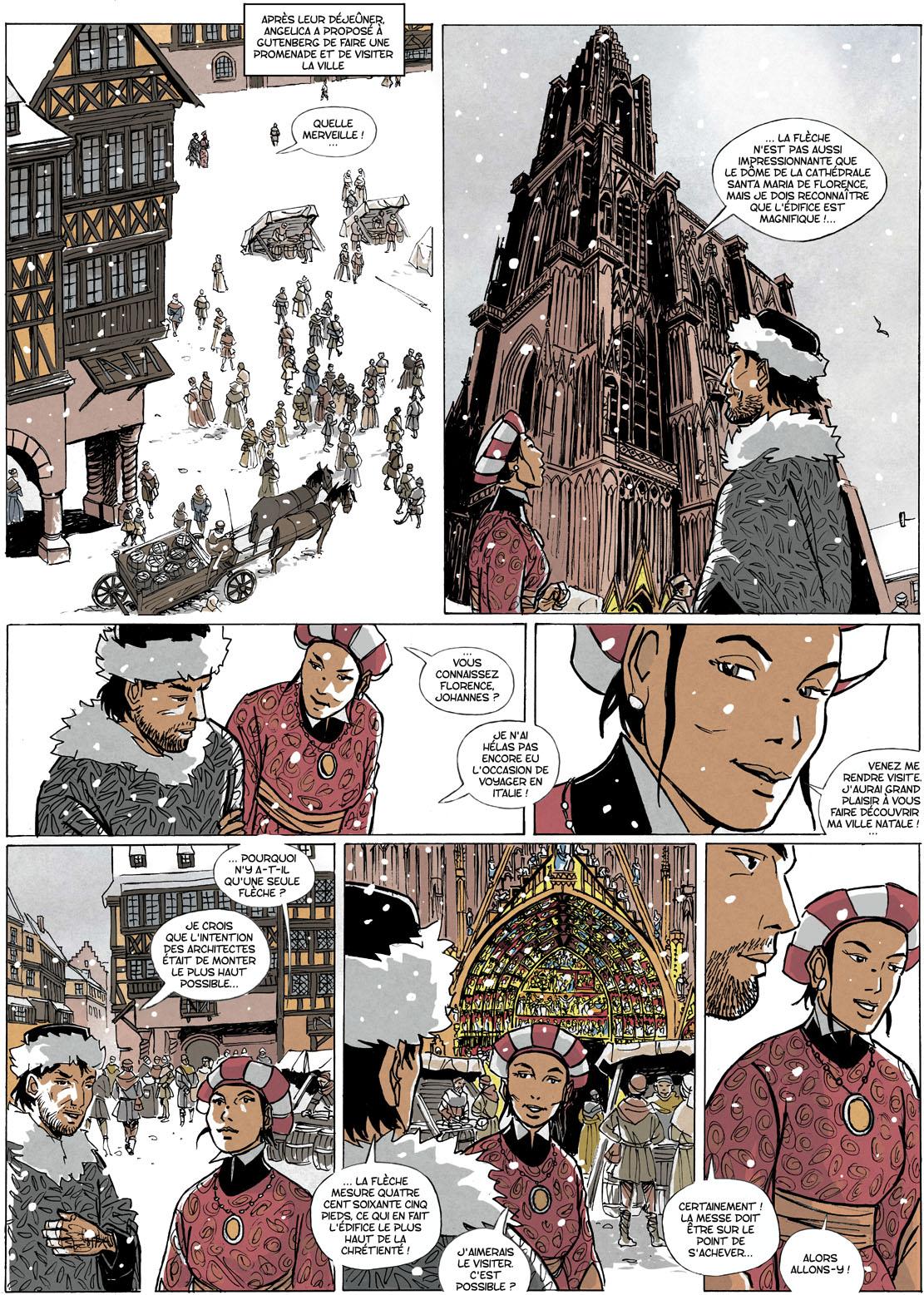 Gutenberg et le secret de la Sibylle, planche de l'album © Éditions du Signe / Wagner / Seiter