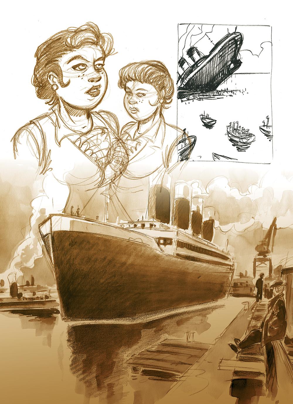 Halifax, mon chagrin, extrait du cahier graphique de l'album © Feles / Regnauld / Quella-Guyot