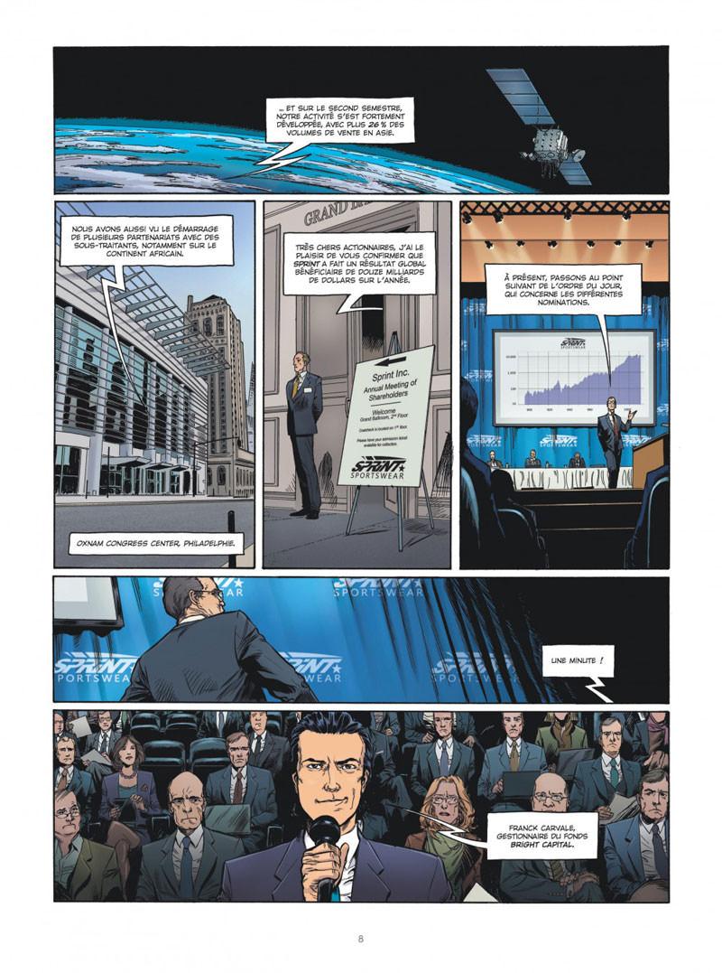 Hedge Fund, planche du tome 4 © Le Lombard / Hénaff / Roulot / Sabbah / Lerolle / le Moal