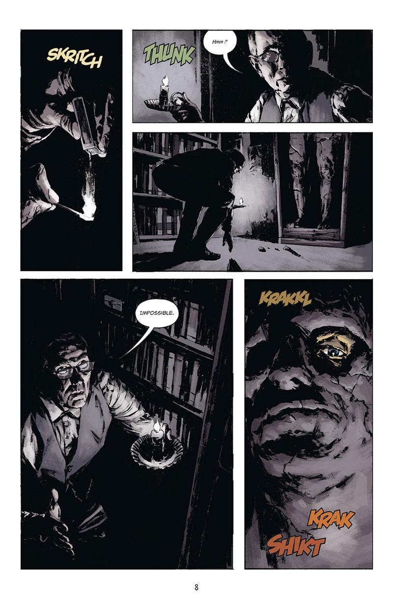Joe Golem, détective de l'occulte, planche du tome 1 © Delcourt / Reynolds / Golden / Mignola / Stewart