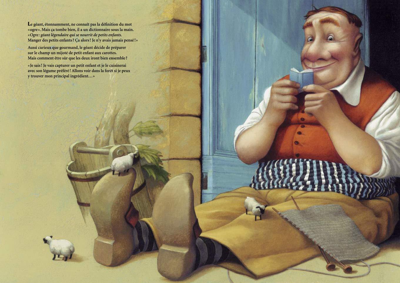 Le Géant, la fillette et le dictionnaire, planche de l'album © Ecole des Loisirs / Poulin / Leroy