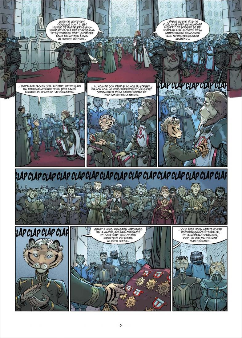 Les 5 Terres, planche du tome 4 © Delcourt / Lereculey / Luwelyn / Martinos / Poli