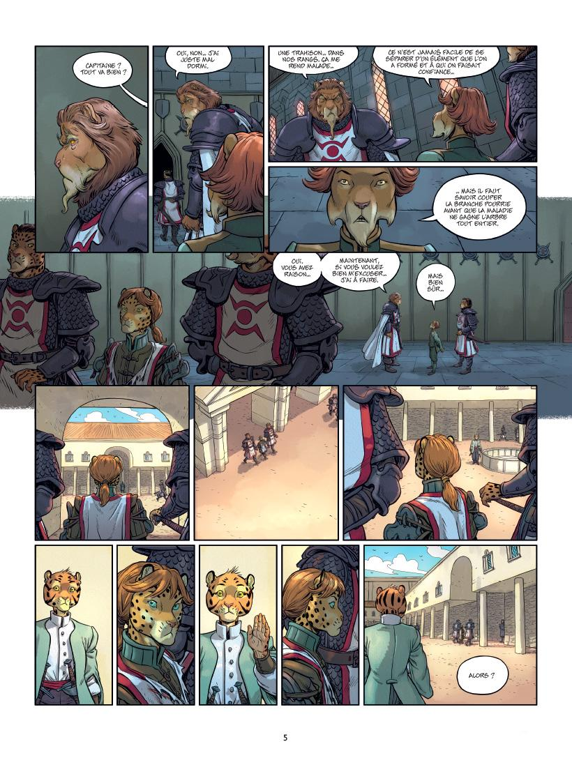 Les 5 Terres, planche du tome 6 © Delcourt / Lereculey / Luwelyn / Martinos / Poli
