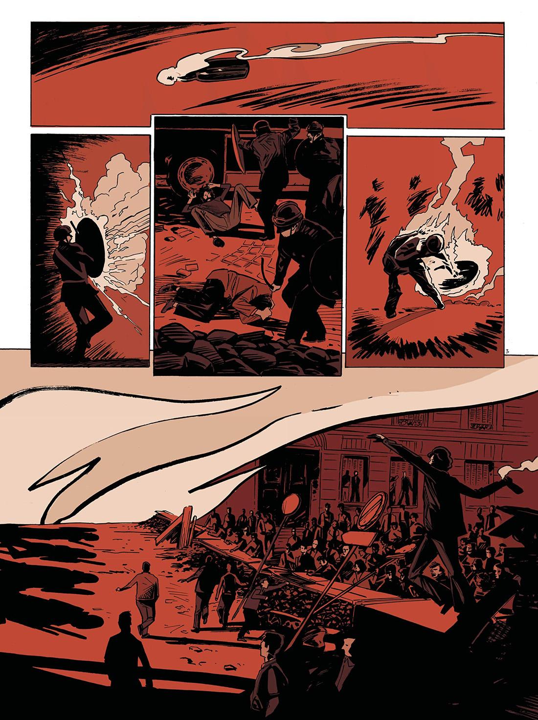 Les années rouge et noir, planche du tome 4 © Les Arènes / Douay / Boisserie / Convard / Galopin